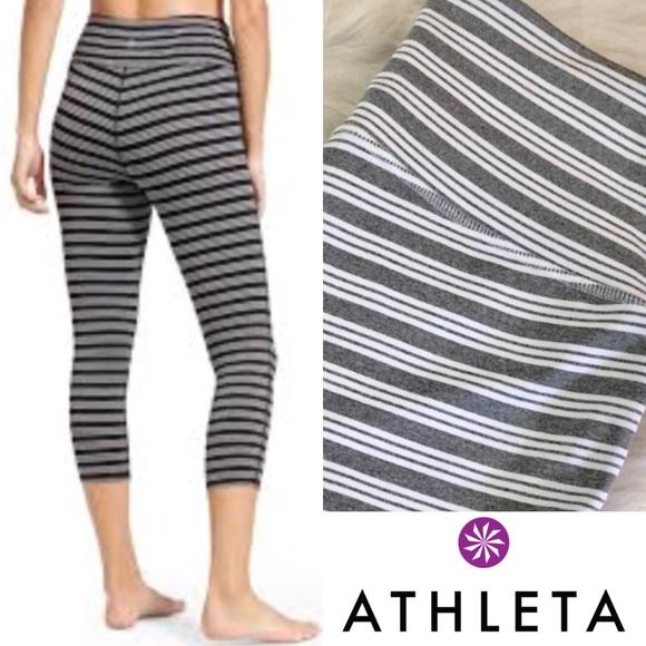 587410dca9fca Athleta Pants | Striped Crop Leggings | Poshmark